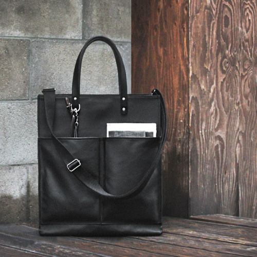 모노노 Leather Brick Bag Coated Canvas Black 남자 크로스백